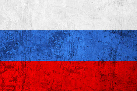 frazzled: Grunge Dirty and Weathered Russian Flag, Old Metal Textured Stock Photo
