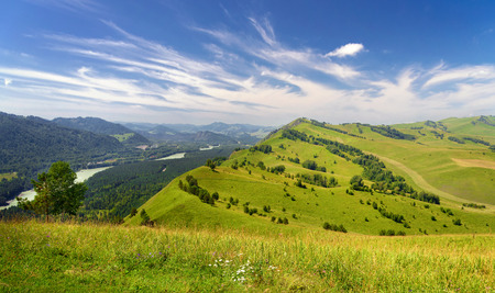 blue green landscape: Beautiful Summer Landscape: Mountains Covered by Trees, Green Hills and Blue Sky with White Clouds Altai Stock Photo