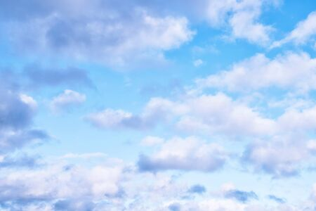 delicate: Delicate Blue Sky Background in Pastel Shades with White Clouds Stock Photo