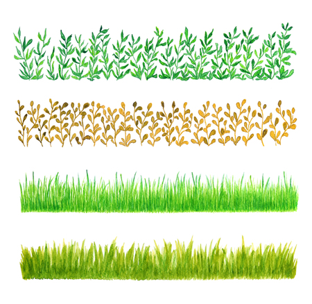 hedge: Set of Four Grass Border Pieces Watercolor Hand Drawn and Painted, Isolated on White Background Stock Photo