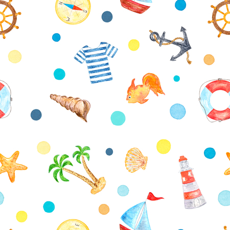 Set of Sea Vacation Elements, Watercolor Painted and Isolated on White Background, SEAMLESS Pattern Stock Photo