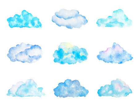 Set of Bright Light Blue Watercolor Clouds, Isolated on White, Hand Drawn and Painted Stock Photo