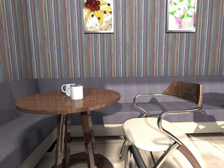 Cozy corner of cafe with a little table, a sofa, a chair and coffee photo
