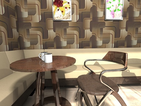 Cozy corner of cafe with a little table, a sofa, a chair and coffee Stock Photo - 16818529