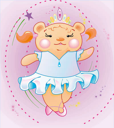 The Little girl is the bear-cub in a dress is dancing