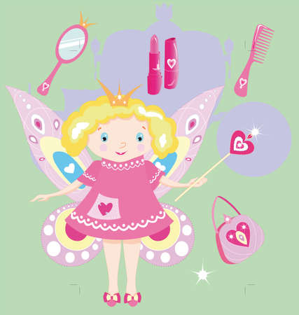 The fairy princess is the little girl, she holds magic wand, there are objects in a set for her Vector