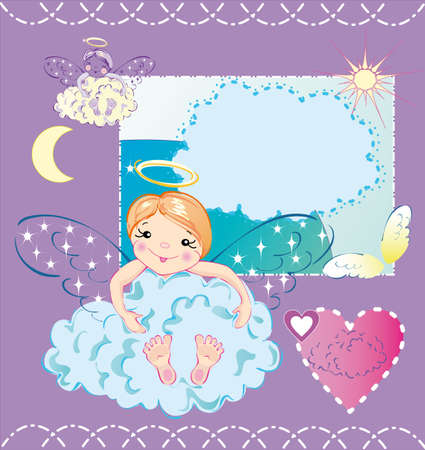 The little angel is sitting in the cloud and hugs it Illustration