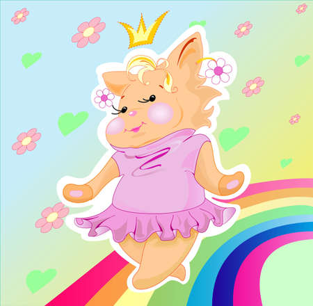 The little pussy-cat is a plump princess, she is dancing along a rainbow