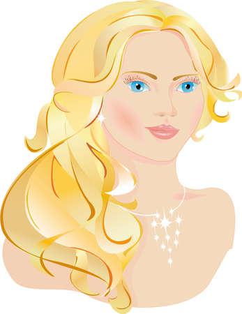 The beautiful lady has fair hair, blue eyes, she's looks very nice Vector