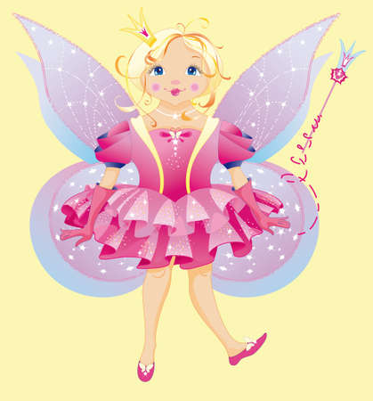 The beautiful fairy has a wonderful  dress, magic wand, wings and gloves Vector