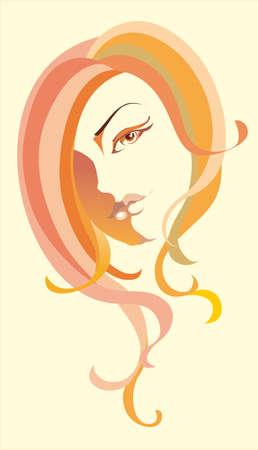 pelo ondulado: Mujer de fondo para el sal�n de cosmetolog�a o de la belleza