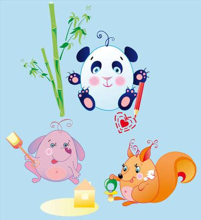 panda cub: Los animales peque�os son los ni�os diversiones, posiblemente para sustituir a cada objeto en la mano si va a cambiar su tama�o y posici�n de la esquina Vectores