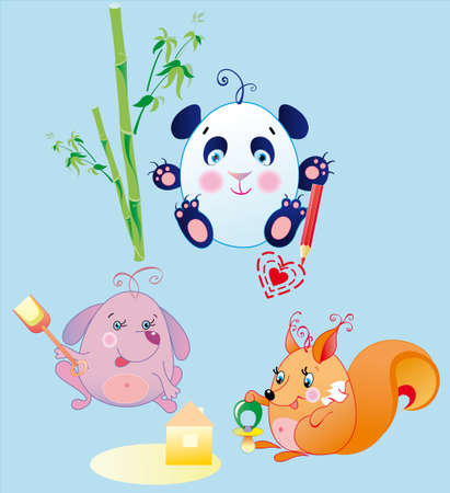 The little animals is funs babies, possibly to replace every object in their hands if will change their size and corner of position Illustration