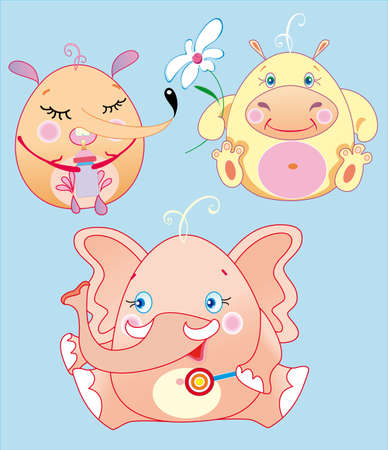 The little animals is funs babies, possibly to replace every object in their hands if will change their size and corner of position Stock Vector - 11662521