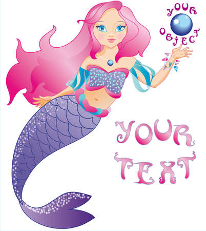 The little beautiful mermaid is very kind and friendly  Vector