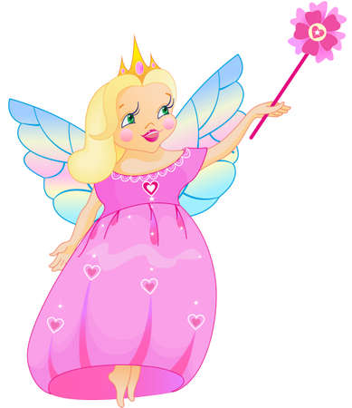 flown: This is real princess, who has flown from a fairy-tale Illustration