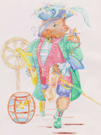 The cat-pirate is one footed it has the mouse on its shoulder