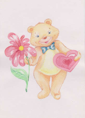 the bear is funny and kind, it has the flower and the heart Stock Photo