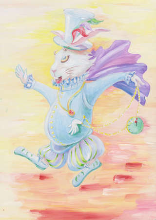 The fairy tale rabbit is late, but it has watch in his hand