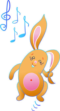 This is rabbit who is loving music so much Stock Vector - 13696717