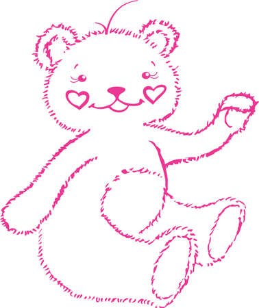says: The little bear-cub is girl, it says hello to you Illustration