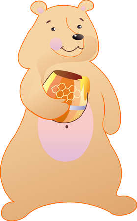 The bear holds the keg of honey Vector