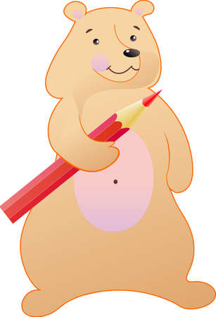 The bear is fun with a red pencil Illustration