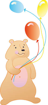 The bear is fun with coloured ballons Illustration