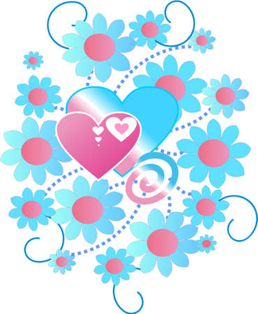 consist: The ornament consist of the hearts and flowers Illustration
