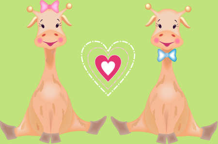 The fairy tale giraffes are loving one another Vector