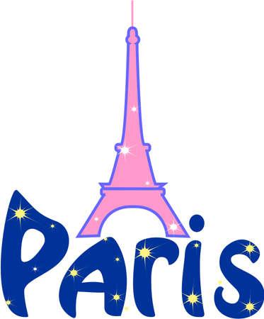 built tower: Torre Eiffel, fue dibujar en color rosa, con la palabra de Par�s