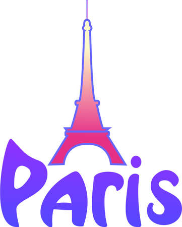 Eifel Tower, was  draw in pink color, with word Paris Vector