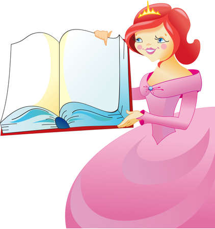 woman reading book: Princess in pink dress with the book