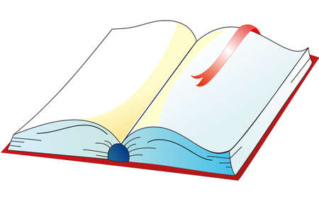 The book is open, your text in the book Illustration
