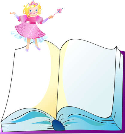 textbook: Princess in pink dress with the book