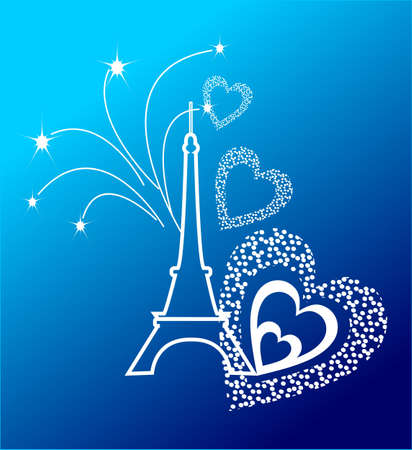 eifel tower: Eifel Tower with the fireworks and the hearts