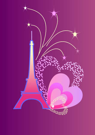 Eifel Tower with the fireworks and the hearts Vector