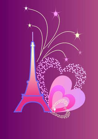 soir�e: Tour Eiffel avec les feux d'artifice et les c?urs