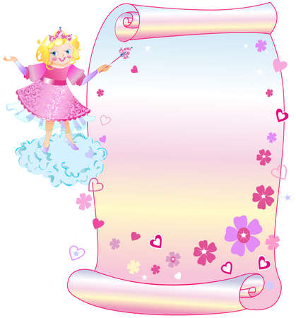 The princess shows on your text in scroll Stock Vector - 13963413