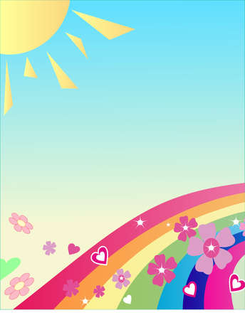 scenics: The rainbow with flowers, the sun; above it your text