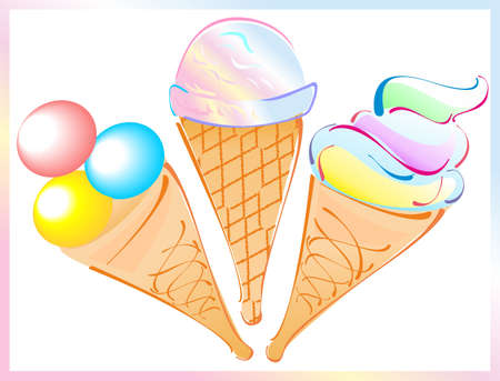 collection of ice creams Vector