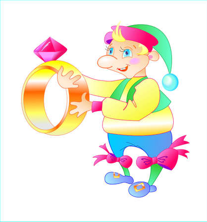 this is funny gnome keep in his hand the ring Stock Vector - 14192393