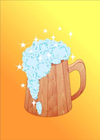 The shining spume runs from the mug Vector