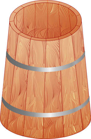 anything: This wooden barrel is empty you can pour anything here Illustration