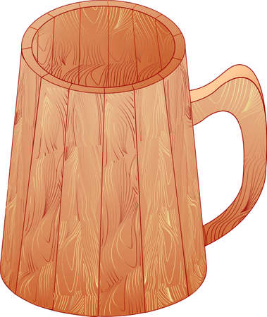 This wooden mug is empty you can pour anything here Stock Vector - 14192411