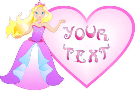 The princess has a big heart for writing your message Vector