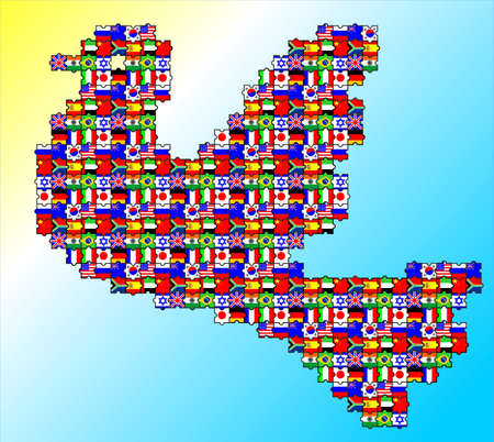 The dove is symbol of peace consist of puzzles flags