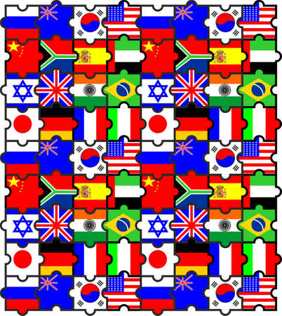 On the puzzles is imaged its flags different countries Vector