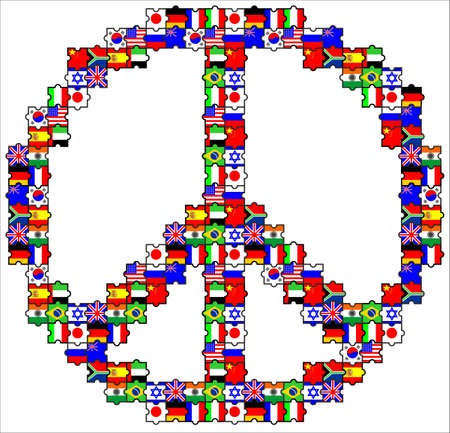 The puzzles is flags them put in the symbol of peace