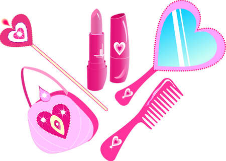 make up face: The pink set for a princess with hearts